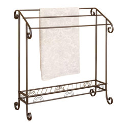 Adarn Inc. - Classic Antique Dark Bronze Finish Curved Metal Accent Blanket Towel Rack - Add convenient storage to your bathroom with this traditional towel rack. Crafted from metal with a beautiful dark bronze finish, it is designed with curved scrolls ends for a classy look. Keep your towels off the floor and neatly organized with this towel rack. It can also be used for quilts and blankets in a living area or bedroom.