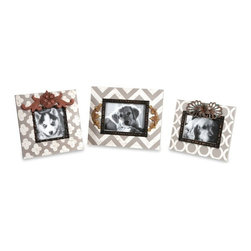 Embellished Vintage Chic Chevron Photo Frames - Set of 3 - *This set of three frames feature modern patterns in soft white and gray antiqued color with added metal embellishments.