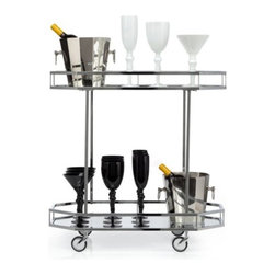 Z Gallerie - Metropolitan Bar Cart - Sleek and contemporary entertain guests with our modestly sized Metropolitan Bar Cart, and embrace a portable fixture to arrange your libations on. Featuring a mirrored tray top and bottom set upon casters, our Metropolitan Bar Cart has been finished in chrome, providing a lustrous sheen. Stunning as a decorative piece and functional as a moving bar, entertain as you wheel your libations to the chosen destination in high style. Exclusive to Z Gallerie. Shown with Pearl and Onyx Stemware and Octagonal Wine Chiller. Sold separately.
