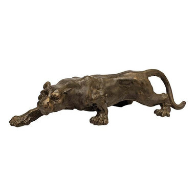 EttansPalace - Collectible Black Panther Cast Iron Statue Sculpture - Quality foundry cast iron collectible. A sleek, mid-century modern statement piece, this 1950's kitsch animal statue stretches its muscular majesty a full 16-inches as a collectible. Crafted of cast iron to capture details from paw to tail, our vintage work boasts a weathered ebony finish with a subtle gold wash. A stylish gift for your home or for a friend on the prowl.