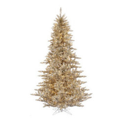 7.5 ft. x 52 in. Artificial Champagne Tinsel Christmas Tree - 7.5 ft. x 52 in. Artificial Christmas Tree