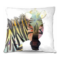 DiaNoche Designs - Pillow Woven Poplin - Zebra - Toss this decorative pillow on any bed, sofa or chair, and add personality to your chic and stylish decor. Lay your head against your new art and relax! Made of woven Poly-Poplin.  Includes a cushy supportive pillow insert, zipped inside. Dye Sublimation printing adheres the ink to the material for long life and durability. Double Sided Print, Machine Washable, Product may vary slightly from image.