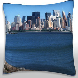 Custom Photo Factory - New York city skyline   Polyester Velour Throw Pillow - New York city skyline  18 x 18 Inches  Made in Los Angeles, CA, Set includes: One (1) pillow. Pattern: Full color dye sublimation art print. Cover closure: Concealed zipper. Cover materials: 100-percent polyester velour. Fill materials: Non-allergenic 100-percent polyester. Pillow shape: Square. Dimensions: 18.45 inches wide x 18.45 inches long. Care instructions: Machine washable
