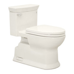 """Toto - Toto MS964214CEFG#11 Colonial White Eco Soiree Eco Soiree One Piece - 1.28GPF ADA Compliant One-Piece Elongated Toilet with SanaGloss and SoftClose SeatWhen it comes to Toto, being just the newest and most advanced product has never been nor needed to be the primary focus. Toto s ideas start with the people, and discovering what they need and want to help them in their daily lives. The days of things being pretty just for pretty s sake are over. When it comes to Toto you will get it all. A beautiful design, with high quality parts, inside and out, that will last longer than you ever expected. Toto is the worldwide leader in plumbing, and although they are known for their Toilets and unique washlets, Toto carries everything from sinks and faucets, to bathroom accessories and urinals with flushometers. So whether it be a replacement toilet seat, a new bath tub or a whole new, higher efficiency money saving toilet, Toto has what you need, at a reasonable price.Sophisticated contemporary design Double Cyclone(R) flushing system SanaGloss(R) ceramic glaze available Universal Height Decorative one-piece with skirted design and high profile tank Elongated front bowl with SoftClose(R) seat Chrome trip lever 12"""" Unifit rough-in, less supply SS214 SoftClose Seat Included"""