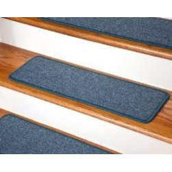 "Dean Flooring Company - Dean Serged DIY Carpet Stair Treads 27"" x 9"" - Teal - Set of 13 - Dean Serged DIY Carpet Stair Treads 27"" x 9"" - Teal - Set of 13 : Quality, Stylish Carpet Stair Treads by Dean Flooring Company Extend the life of your high traffic hardwood stairs. Reduce slips/increase traction (your treads must be attached securely to your stairs). Cut down on track-in dirt. Great for pets and pet owners. Helps your dog easily navigate your slippery staircase. 100% Polypropylene. Set includes 13 carpet stair treads PLUS one roll of double-sided carpet tape for easy, do-it-yourself installation. Each tread is serged around the edges with beautiful color matching yarn. Rounded corners. No bulky fastening strips. You may remove your treads for cleaning and re-attach them when you are done. Add a touch of warmth and style and a fresh new look to your stairs today with new carpet stair treads from Dean Flooring Company! This product is designed, manufactured, and sold exclusively by Dean Flooring Company. We do not sell our products for resale to any other retailers. Beware of purchasing unauthorized, counterfeit, inferior quality versions of our branded merchandise from other sellers."