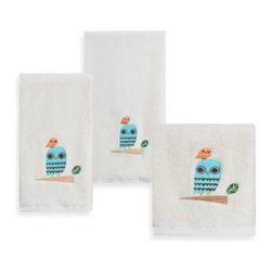 "Creative Bath Products - Give A Hoot Printed Bath Towel - Create a whimsical look while adding a bit of color with the Give A Hoot Bath Towel Collection. It features an adorable owl resting upon a small branch with a white background. Each size sold separately. Bath Towel measures 27"" x 52""."