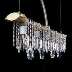 """Michael McHale Designs - Bryce Linear Chandelier - These beautiful Bryce-edition chandeliers feature hand-milled aluminum components which abstract traditional pipe fittings. Linear Chandelier features four, five, six, seven, or eight bulbs in a straight-line, flanked by curtains of Bohemian clear crystal hanging from taught steel pipe rails. Anodized aluminum finish. Cross-hatched translucent tubing contains the electrical cord, and will either be in the middle of the piece or off-center (depending upon whether the total number of bulbs is an odd or even number), allowing for a variety of hanging possibilities. Fixture requires four 15 watt 120 volt incandescent bulbs included. Also available in 5, 6 or 7 bulb versions and with color crystals. Adjustable cord up to 40 inches. 25"""" L x 4.5"""" W."""