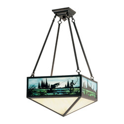 """Meyda Lighting - Meyda Lighting 16.5"""" Sq Fly Fishing Creek Semi-Flushmount - -Height: 31"""""""