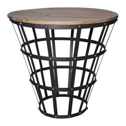 Noir - Noir - Trystan Side Table, Old Wood/Metal - Old Wood and Metal