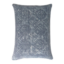 "Jaipur Rugs - Handmade Cotton Gray (16""x24"") Pillow - Dabu cotton pillows use a resist dying process to create interesting patterns.  This technique will have some variation in color due to the length of time that the die is applied."
