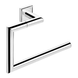 WS Bath Collections - 9.1 in. Towel Ring - Contemporary style. Designer high end quality. Premium quality. Avantgarde. Warranty: One year. Made from solid brass base. Polished chrome color. Made in Spain. No assembly required. 9.1 in. W x 2.8 in. D x 5.5 in. H (3 lbs.)Kubic class the very well known brand name for premium and highend bathroom furnishings. Unique and fine bath complements and accessories of various designs and materials