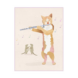 Flute Playing Cat Print By Jango Arts - Hey diddle, diddle the cat and the flute? I love this adorable little feline and her dancing mice — such a pretty addition for a feminine nursery.