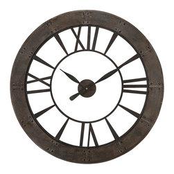 Uttermost - Uttermost Ronan Wall Clock - Ronan Wall Clock by Uttermost Dark, Rustic Bronze Finish Accented With A Rust Gray Frame. Quartz Movement.