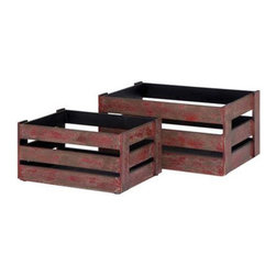 Woodland Imports - Woodland Imports Solid Wood Wine Crates- Set of 2 - Rustic Red Multicolor - 5096 - Shop for Storage and Organizers from Hayneedle.com! Add a touch of color and country charm to your wine collection with the Woodland Imports Solid Wood Wine Crates- Set of 2 - Rustic Red. Sturdily crafted of solid hardwood finished in weathered red this rustic set of wine crates can be carried outdoors for picnics and barbecues or set inside for handy countertop storage. Small: 16W x 8D x 12H in.; large: 20W x 14D x 10H inches.