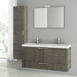ACF - 47 Inch Grey Oak Bathroom Vanity Set - Set Includes:. Vanity Cabinet (2 Doors,2 Drawers). High-end fitted ceramic sink. Wall mounted vanity mirror. Tall storage cabinet. Vanity Set Features . Vanity cabinet made of engineered wood. Cabinet features waterproof panels. Vanity cabinet in grey oak finish. Cabinet features 2 doors, 2 soft-closing drawers. Faucet not included. Perfect for modern bathrooms. Made and designed in Italy. Includes manufacturer 5 year warranty.