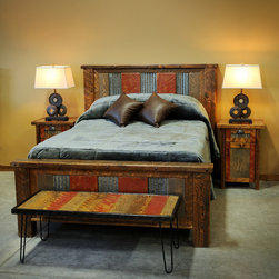 Barnwood Beds - Queen Arizona Style Barn Wood Bed :: Lonepine Lodgepole