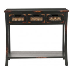 Safavieh - Autumn 3 Drawer Console - Distressed Black - You'll fall for Autumn not only because of the loads of storage space, with three drawers and a bottom shelf, but also because of its subtle fusion of design details. This vintage-inspired pine console, with its distressed black finish and basket-woven drawer fronts, stands atop heavy-bottomed legs reminiscent of Asian furnishings. Minor assembly required.