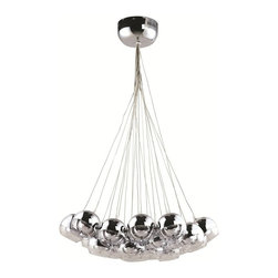 Lemoderno - Fine Mod Imports  Cup Hanging Chandelier, Silver - Cup Hanging Chandelier Type of bulb: G4, Maximum Watt: 10W, Bulbs not included; Uses 20 bulbs Glass cups   Assembled