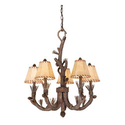Vaxcel - 5L Chandelier Finish w/ Shades - Vaxcel Lighting AS-CHS005PT 5 Light Aspen Chandelier This product from Vaxcel Lighting has a pine tree finish. Features faux leather shade(s). For use
