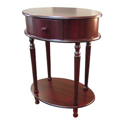 ORE International - Oval Shape Side Table in Cherry Finish - Storage drawer. Lower shelf. Turned legs. Strengthened with mortise and tenon joint reinforcement. Made of wood composite. 21 in. W x 15 in. D x 28 in. H (20 lbs.)Graceful, elegant and completely stylish.