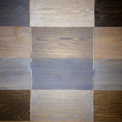 Creative Effects - Fuming & Smoked wood samples - Custom finishes on wood floors is one of our specialties!  With our extensive experience with stains, stain matching, pre treatments, fuming, smoking, dyes and more we are able to create almost any look on hardwood floors from contemporary charcoals and grays, to white washed looks, contrasting colors, black floors, rustic/distressed floors, textured floors and much more...