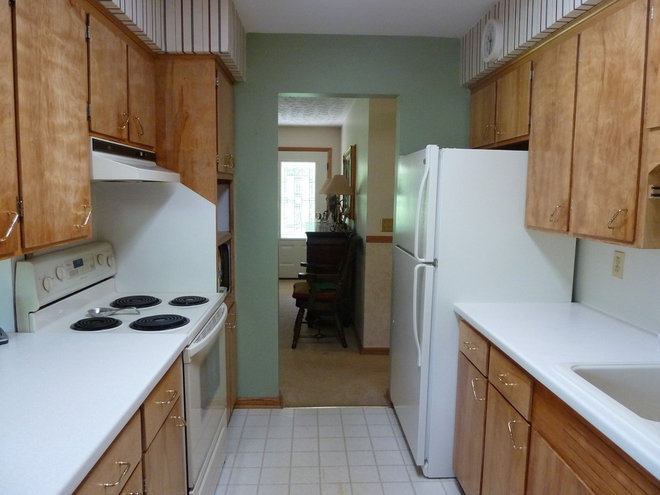 Our Before and After Kitchen. 1960's Small Galley Kitchen.