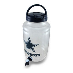 Zeckos - Dallas Cowboys Beverage Jar Drink Dispenser w/Spigot - This beverage jar is perfect for game day or parties for Dallas Cowboy fans to share (or not to share) their favorite drink It holds 1 gallon of your favorite beverage, and features a spigot near the bottom to dispense drinks into cups, or you can drink straight from the top through the lid. Made from plastic, it measures 11 inches high, 6 inches diameter (28 X 15 cm), and is recommended to hand wash only. It's a great gift any Cowboys fan is sure to appreciate
