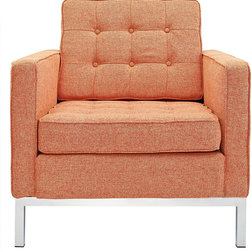 IFN Modern - Florence Knoll Style Armchair-Orange Tweed - Florence Knoll, an acclaimed architect and designer, first conceived this beautiful chair in 1956. Knoll's philosophy for furniture design comes from the value that she placed on practicality and aesthetic beauty. The pieces resulting from her philosophical vision are considered to be minimalistically beautiful without compromising on durability and comfort. Knoll designed the luxuriously classic Florence Knoll chair using a durable stainless steel frame which contained minimal materials. The chair features beautiful cubic cushions complimented with compressed buttons in a functional layout which provides both style and comfort to the thin, minimalist supporting arms. The Knoll Chair is highly desired as it's minimal yet practical design can adapt perfectly into today's modern home or space. â— Product is upholstered in Tweedâ— High Polished Solid Stainless Steel base frame ensures no chipping or rustingâ— Traditional hardwood box frame constructionâ— Reinforced bottom seat cushion platform for firm long lasting comfortâ— Corner Solid Stainless Steel base joints are fully welded, grind, sealed and sandedâ— High-density resilient seat and back foam wrapped in silk layer provide comfort and cushion structure memoryâ— Cushions CA-117 fire retardant compliantâ— Removable back and seat cushions.â— Complete with floor protection pad caps on legs