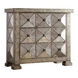 Hooker Furniture - Dimensional Mirrored Chest - Make a strong design statement and add some dimension to your chest of drawers with a unique pyramid patterned, subtly reflective dresser. Don't hide it away in some unused guest room, give it marquee billing! Top it with photos or fresh flowers in an equally stunning vase.