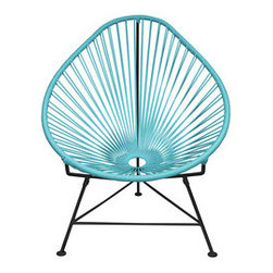 Sunburst Leaf Chair in Blue - Sit back and melt into this hoop-shaped, sunburst-woven modern accent chair, complete with UV-resistant vinyl cord for breathability and support and a rust-resistant galvanized steel frame with a semi-textured polyester powder coat. Use this chair inside or outside—it will be sure to add a burst of circular motion wherever it goes.