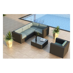 Urbana 5-Piece Modern Patio Sectional Set, Spa Cushions