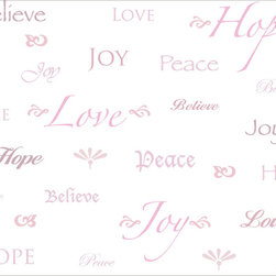 Murals Your Way - Words To Live By-Pink Wall Art - Get inspired by words of love, peace, joy, hope and believe done in a variety of fonts.  Available in pink script on a white background