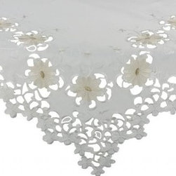 Xia Home Fashions - Daisy Divine 34-Inch By 34-Inch Table Topper - Elegant daisy florals are embroidered in classic tones in this exquisite cutwork table linens collection!