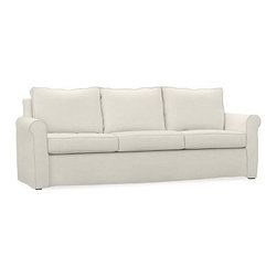 """Cameron Roll Arm Slipcovered Grand Sofa, Polyester Wrap Cushions, Washed Linen/C - Crafted by our master upholsterers in North Carolina, our Cameron Collection offers superb quality at an unparalleled price. Our sofa is built with eco-friendly materials and plush seat cushions for maximum comfort. 98"""" w x 36"""" d x 35"""" h Polyester-wrapped cushions provide a tailored and neat look. Proudly made in America, view video. For shipping and return information, click on the shipping tab. When making your selection, see the Quick Ship and Special Order fabrics below. Please call 1.888.779.5176 to place your order for additional fabrics."""