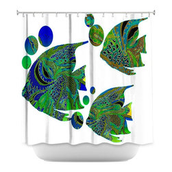 DiaNoche Designs - Shower Curtain Artistic - Sailfish II - DiaNoche Designs works with artists from around the world to bring unique, artistic products to decorate all aspects of your home.  Our designer Shower Curtains will be the talk of every guest to visit your bathroom!  Our Shower Curtains have Sewn reinforced holes for curtain rings, Shower Curtain Rings Not Included.  Dye Sublimation printing adheres the ink to the material for long life and durability. Machine Wash upon arrival for maximum softness. Made in USA.  Shower Curtain Rings Not Included.