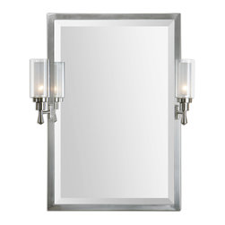 Uttermost - Amadora Mirror with Sconces - Talk about brushing up on elegance! This brushed nickel framed mirror and sconces makes a stunning statement piece for your entry, hallway or powder room. Two frosted-glass sconces pivot left or right to create the stylish look you want.