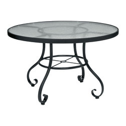 Woodard - Ramsgate Strap 48 in. Round Dining Table w Obscure Glass Top (Textured Black) - Finish: Textured Black. Aluminum frame. Height: 28.5 in. H. All products are made to order. Orders cannot be cancelled after 5 calendar days. If order is cancelled after 5 calendar days, a 50% restocking fee will be applied.