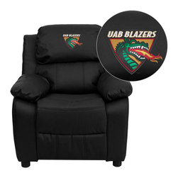 "Flash Furniture - Alabama at Birmingham Blazers Black Leather Kids Recliner with Storage Arms - Get young kids in the college spirit with this embroidered college recliner. Kids will now be able to enjoy the comfort that adults experience with a comfortable recliner that was made just for them! This chair features a strong wood frame with soft foam and then enveloped in durable leather upholstery for your active child. This petite sized recliner features storage arms so kids can store items away and retrieve at their convenience. University of Alabama at Birmingham Embroidered Kids Recliner; Embroidered Applique on Headrest; Overstuffed Padding for Comfort; Easy to Clean Upholstery with Damp Cloth; Flip-Up Storage Arms; Storage Arm Size: 3.25""W x 6""D x 11""H; Solid Hardwood Frame; Raised Black Plastic Feet; Intended use for Children Ages 3-9; 90 lb. Weight Limit; Black LeatherSoft Upholstery; LeatherSoft is leather and polyurethane for added Softness and Durability; CA117 Fire Retardant Foam; Safety Feature: Will not recline unless child is in seated position and pulls ottoman 1"" out and then reclines; Overall dimensions: 25""W x 26"" - 39""D x 28""H"