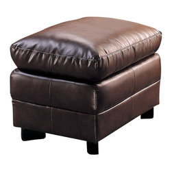 Coaster - Coaster Harper Overstuffed Leather Ottoman in Rich Brown - Coaster - Ottomans - 501914 - This upholstered ottoman features a plush, overstuffed design and rich, bonded leather upholstery for a slightly casual, wholly stylish look. Accent stitching on the seat and base dress up the otherwise smooth surface of this leather ottoman. A coordinating arm chair features an equally plush seat and pillow arms for casual comfort, and features the same bonded leather upholstery for a seamless pairing. Use as additional seating in your living room, or group with the matching leather chair for casual seating in any room of your home.