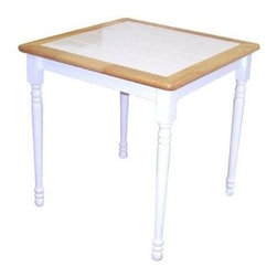 "Alston - Cottage Wood Dining Table w Ceramic Tile Top, - * Tile top. White painted finish with natural trim accent. Hardwood construction. 30"" square. 4"" white ceramic tiles. 31 in. W x 31 in. D x 30 in. H"
