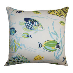 The Pillow Collection - Niju Coastal Pillow Blue Green - This accent pillow brings a coastal style to your living space. This fun throw pillow is adorned with sea creatures in shades of green, blue, yellow and white. This ocean-themed square pillow lends a carefree and relaxing twist to your interiors. Accentuate your sofa, bed or chair with this 100% cotton-made decor pillow. Hidden zipper closure for easy cover removal.  Knife edge finish on all four sides.  Reversible pillow with the same fabric on the back side.  Spot cleaning suggested.