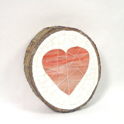 Mosaic Wood Slice Wall Hanging - Shabby chic meets rustic with this heart mosaic on a natural tree slice, by Live In Mosaics. This pretty handmade pink heart set on a white glass background will look gorgeous hanging on your wall.