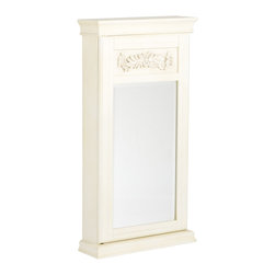 Holly & Martin - Juliette Wall-Mount Jewelry Armoire, Antique White - Stop digging through a cluttered jewelry box and get organized with this lovely wall mount jewelry armoire. An antique white finish caresses the details of this traditionally styled armoire. Decorative floral applique is framed above the mirror and a beaded trim adds additional beauty. Black felt and an assortment of jewelry storage options line the inside. The door has a keyed lock on the right side to secure your valuables. Perfect for bedroom, bathroom, walk-in closet, or entryway, this jewelry armoire will be a beautiful addition to your home.