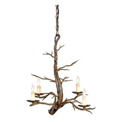 Create Drama with Light Fixtures - It is hard not to pay attention to this rustic lighting fixture from Currey & Company. Skillful artistry and intricate detailing on a simple, hollow metal bar gives the chandelier the look of a wind-worn tree branch. The fascinating ironwork, tree-branch shape, and candelabra bulbs add a fairytale vibe.