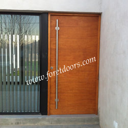 Modern front entry doors / contemporary front entry doors - Solid wood contemporary entry door with sidelight and long stainless steel pull