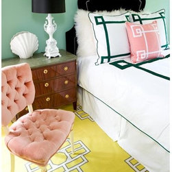 Dark Green Lucky Duvet Cover - Just a touch of kelly green can update your bedroom. This bedding is perfect.