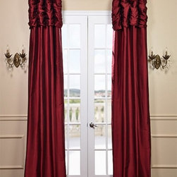 Ruched Bold Red Curtain - We've taken our popular Thai Silk panels and added a ruched header valance creating the most luxurious, over the top style in window treatments out there. This style was designed and meant to be stationary and used as decorative panels to frame out your window.
