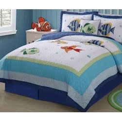 "PEM America - Colorful Sea Twin Quilt with Pillow Sham - Bright and fun fish of the sea are the focus of Colorful Sea. Features: -Twin set includes one twin quilt and one standard sham. -Embroidered and appliqu designs plus gingham patterns and soft pastel colors. -Surround Baby with fun undersea critters like starfish, dolphins, octopi and sea turtles. -Soft cotton and polyester fabrics are machine washable. -Pre-washing provides a natural worn look. Specifications: -Twin size quilt: 68"" W x 86"" D. -Queen size quilt: 86"" W x 86"" D. -Standard sham: 20"" W x 26"" D."