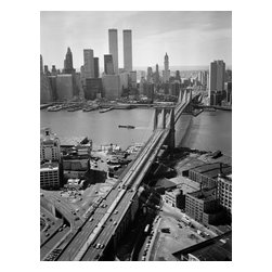 Brooklyn Bridge, Spanning East River, Aerial Print - Brooklyn Bridge, Spanning East River between Park Row, Manhattan and Sands Street, Brooklyn, New York, New York, NY. Photographed by Jack Boucher on 4 x 5 film for HAER.