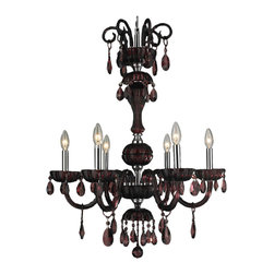 """Worldwide Lighting - Carnivale 6 Light Chrome Finish & Cranberry Red Crystal Chandelier 25"""" D x 34"""" H - This stunning 6-light chandelier only uses the best quality material and workmanship ensuring a beautiful heirloom quality piece. Featuring a radiant chrome finish and finely cut premium grade cranberry red crystal with a lead content of 30%, this elegant chandelier will give any room sparkle and glamour. Worldwide Lighting Corporation is a privately owned manufacturer of high quality crystal chandeliers, pendants, surface mounts, sconces and custom decorative lighting products for the residential, hospitality and commercial building markets. Our high quality crystals meet all standards of perfection, possessing lead oxide of 30% that is above industry standards and can be seen in prestigious homes, hotels, restaurants, casinos, and churches across the country. Our mission is to enhance your lighting needs with exceptional quality fixtures at a reasonable price."""